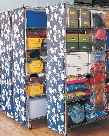 Gentil Chrome Wire Storage Units With Castes And Floral Patterned Fabric Shades On  The Sides